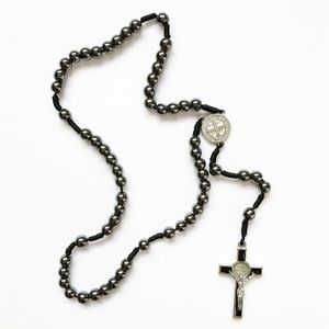 Vintage silver & hematite rosary / cross necklace